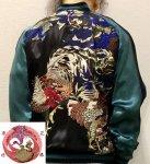 【花旅楽団】鶏と紫陽花スカジャン SSJ-018 ブラック