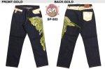 【花旅楽団】鳳凰柄刺繍デニムパンツ SP-503 ゴールド、シルバー
