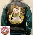 【花旅楽団】招き猫リバーシブルスカジャン SSJ-514 ブラック