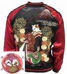 【花旅楽団】猫花魁刺繍スカジャン SSJ-519 ブラック