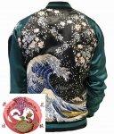 【花旅楽団】波に桜刺繍スカジャン SSJ-025 ブラック
