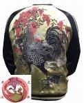 【花旅楽団】若冲の黒鶏刺繍スカジャン SSJ-031 ブラウン