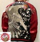 【花旅楽団】桜と白鳳凰刺繍スカジャン SSJ-029 ブラック