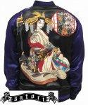 【satori/さとり】花魁刺繍スカジャン GSJR-021 ブラック