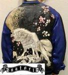 【satori/さとり】月に白狼刺繍スカジャン GSJR-025