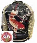 【花旅楽団】桜緋鯉刺繍スカジャン SSJ-035 ブラック