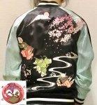 花旅楽団|桜に平安猫刺繍スカジャン SSJ-703 ブラック