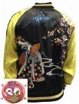 花旅楽団|舞踏舞妓刺繍スカジャン SSJ-705 ブラック