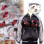 【ジャパネスク】菊と蝶と金魚刺繍スカジャン 3RSJ-701 ブラック、グレー