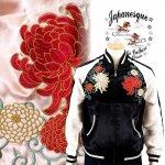 【ジャパネスク】菊と唐草刺繍スカジャン 3RSJ-703 ブラック、ピンク