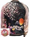 花旅楽団|桜と舞妓刺繍スカジャン SSJ-038 ブラック