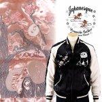 ジャパネスク|梅とパンダ刺繍スカジャン 3RSJ-755 ブラック、ピンク