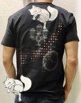 今昔 こんじゃく|大正浪漫狐半袖Tシャツ KJY-98003 黒/白