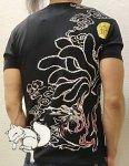 今昔 こんじゃく|九尾狐竹繊維半袖Tシャツ KJT-20017 黒/白