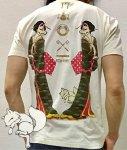 今昔 こんじゃく|狐の化かしあい半袖Tシャツ KJT-20007 マスタード/黒/白