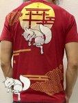 今昔 こんじゃく|狐と蜘蛛の糸半袖Tシャツ KJT-20003 ワイン/黒/白