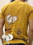 今昔 こんじゃく|狐と小紋柄半袖Tシャツ KJT-20004 マスタード/黒/白