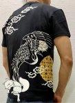 今昔 こんじゃく|月夜鶴と狐半袖Tシャツ KJT-20008 黒/白