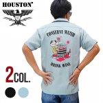 【HOUSTON/ヒューストン】刺繍半袖ボーリングシャツ 品番40827 色ブラック/サックス