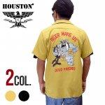 【HOUSTON/ヒューストン】刺繍半袖ボーリングシャツ 品番40830色ブラック/マスタード