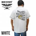 【HOUSTON/ヒューストン】刺繍半袖ボーリングシャツ 品番40825 色ホワイト