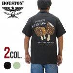 【HOUSTON/ヒューストン】刺繍半袖ボーリングシャツ 品番40826色ブラック/ミント