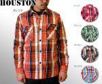 【HOUSTON/ヒューストン】長袖チェックビエラワークネルシャツ 品番4782 色ネイビー/レッド他3色
