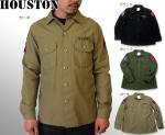 【HOUSTON/ヒューストン】US ARMYミリタリー長袖シャツ 品番4804 色オリーブ/カーキ/ブラック