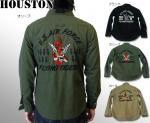 【HOUSTON/ヒューストン】フライングタイガース刺繍ミリタリー長袖シャツ 品番4805 色オリーブ他