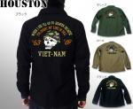 【HOUSTON/ヒューストン】ベトナム刺繍ミリタリー長袖シャツ 品番4806 色オリーブ/カーキ/ブラック