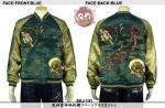 【花旅楽団】風神雷神刺繍リバーシブルスカジャン 品番SKJ-141 色ブルー(裏:ブラック)