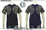 【龍桜】雲雷神柄抜染プリント半袖Tシャツ RST-111 色ブラック/ネイビー