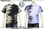 【龍桜】雲風神柄抜染プリント&刺繍半袖Tシャツ RST-112 色ブラック/ホワイト