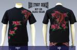 【バックストリートクローラー/BACK STREET CRAWLER】タイガー・ローズ柄刺繍半袖Tシャツ BST-120