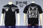 【バックストリートクローラー/BACK STREET CRAWLER】ウィングスカル柄刺繍半袖Tシャツ BST-121