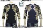 【龍桜】桜髑髏柄抜染プリント七分袖Tシャツ RPT-110 色ブラック/ネイビー