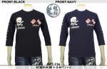 【龍桜】蛇錨柄刺繍七分袖Tシャツ RPT-114 色ブラック/ネイビー