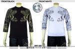 【龍桜】龍柄抜染プリント七分袖Tシャツ RPT-001 色ブラック/ホワイト