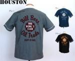 【HOUSTON/ヒューストン】チェーン刺繍半袖ボーリングシャツ 品番4828 色ブラック/ブルー/グレー