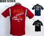 【HOUSTON/ヒューストン】チェーン刺繍半袖ボーリングシャツ 品番4829 色ブラック/ブルー/ワイン