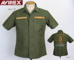 【AVIREX/アヴィレックス】レザーパッチ ミリタリー半袖シャツ 品番6125000 色オリーブ