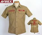 【AVIREX/アヴィレックス】レザーパッチ ミリタリー半袖シャツ 品番6125000 色カーキ