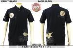 【花旅楽団】月狐柄刺繍&抜染半袖ポロシャツ 品番SPS-121 色ブラック/ホワイト