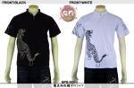 【花旅楽団】鷹虎柄刺繍ポロシャツ 品番SPS-003 色ブラック/ホワイト