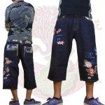 【花旅楽団】金魚柄刺繍デニムショーツ 品番SHP-904 色ワンウォッシュ/ストーンウォッシュ