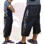 【花旅楽団】桜鯉柄刺繍デニムショーツ 品番SHP-907 色ワンウォッシュ/ストーンウォッシュ