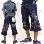 【花旅楽団】龍柄刺繍デニムショーツ 品番SHP-908 色ワンウォッシュ/ストーンウォッシュ
