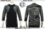 【龍桜】鳳凰柄抜染七分袖Tシャツ RPT-120 色ブラック/ネイビー