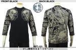 【龍桜】がしゃ髑髏柄抜染七分袖Tシャツ RPT-121 色ブラック/ネイビー