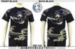 【龍桜】波巨龍頭柄刺繍&抜染半袖Tシャツ RST-127 色ブラック/ホワイト